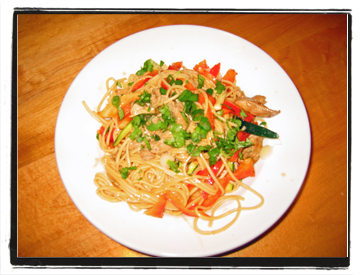 Lo Mein Pork and Peanut Noodles
